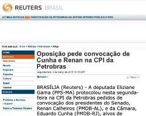 Até a Reuters, agência internacional, destaca  atuação da deputada