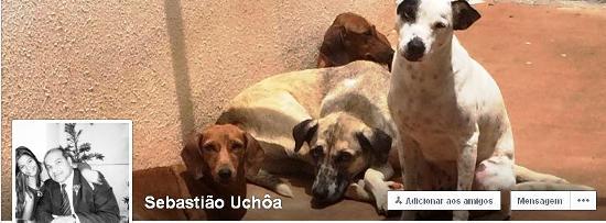 ...E no layout de seu Facebook, no qual exibe a paixão pelos cães