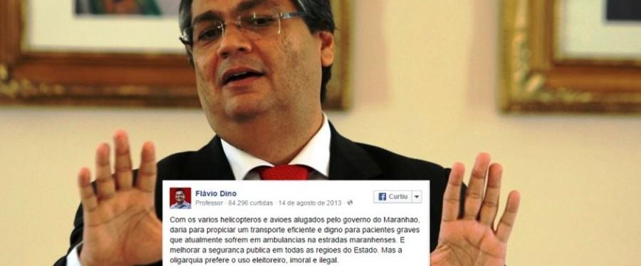 Flávio Dino  saus balelas demagógicas fora do pdoer. O discurso agora é outro... (fotomontagem: blog Atual7