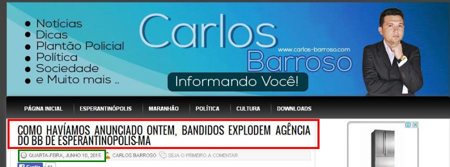 ...E a notícia da explosão no caixa do BB de Esperantinópolis, na madrugada desta quarta-feira, 10