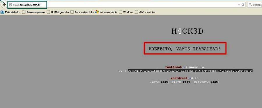 O site de Holandinha hackeado; sem informações de campanha