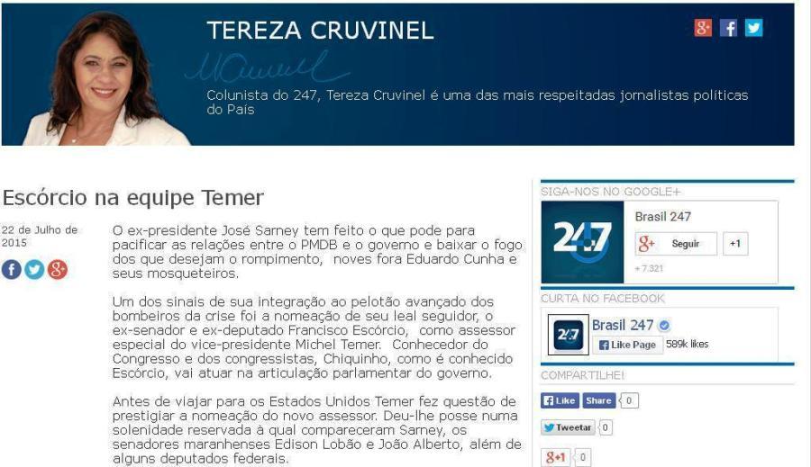 Blog da jornalsita Tereza Cruvinel, uma das mais respeitadas de Brasília
