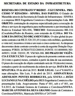 Contrato com a empresa denunciada por Dino