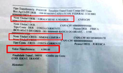 O extrato do pagamento, feito em 17 de julho, segundo o índio