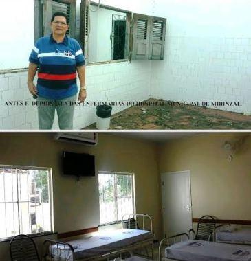 Amaury na ala da enfermaria feminina do hospital municipal nossa senhora da vitoria antes e depois da reforma