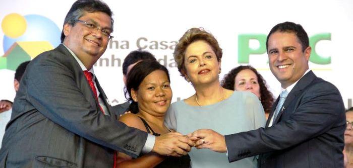 Edivaldo com Dino e Dilma: melhor dos três na fita...