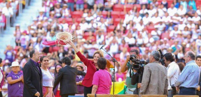 Dilma com as trabalhadoras de todo o país, no Estádio mané Garrincha
