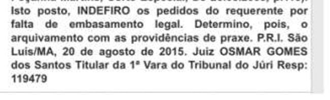 Decisão de Osmar Gomes, após análise do pedido de Cutrim
