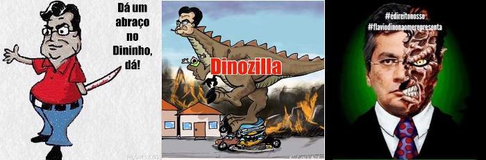Apenas três das inúmeras charges eletrônicas que ridicularizam Dino na internet; apanhando no próprio terreno