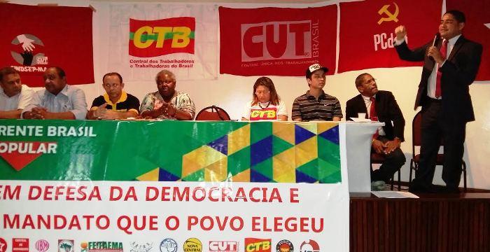 """Inácio em discurso durante o lançamento da FBP: """"união contra golpe"""""""