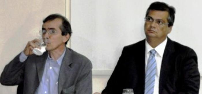 Pacheco ao lado do governador: o semblante de Dino mostra o que ele pensa da gestão na Saúde