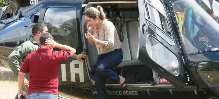 Simone Limeira também usou o helicóptero