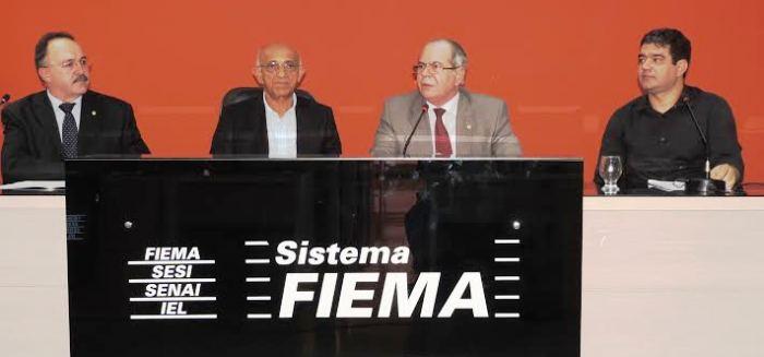 Deputado Mauro Pereira (PMDB/RS), Edilson Baldez, presidente da Fiema, e os deputados Hildo Rocha e Júnior Marreca