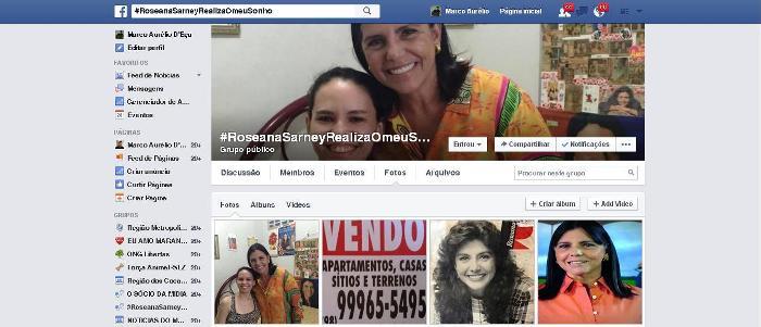 O perfil público criado no facebook: Roseana por todos os lados