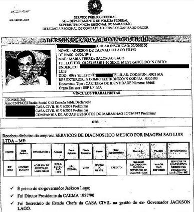 O documento da PF sobre Aderson Lago (blog do Luis Pablo)