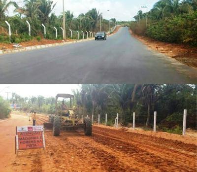 No Turiúba, um trecho da estrada já pavimentado e o outro está recebendo serviços de terraplanagem.