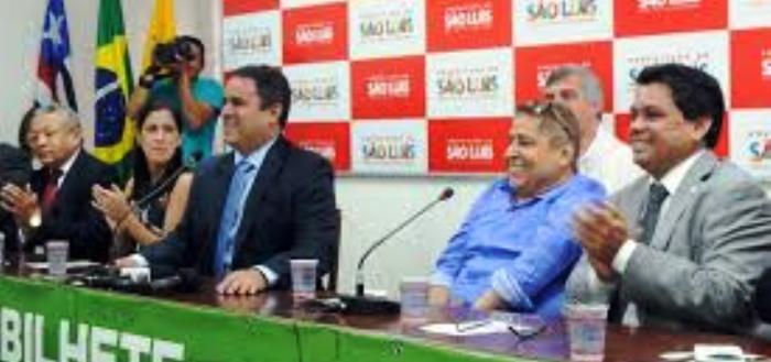 Canindé com Edivaldo e Márcio Jerry no lançamento do Bilhete Único