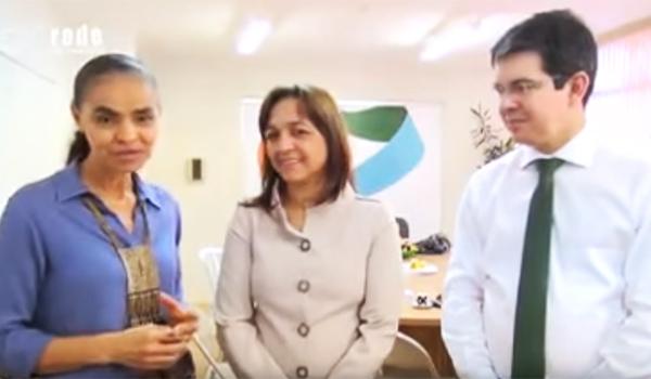 Marina com Eliziane e o senador Randolfe Rodrigues, recém-filiado à Rede