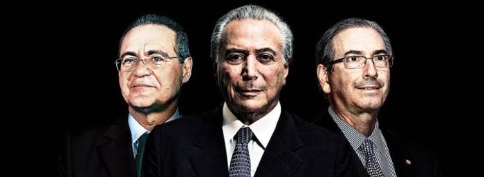 Renan, Temer e Eduardo Cunha: cúpula do PMDB no alvo da PF