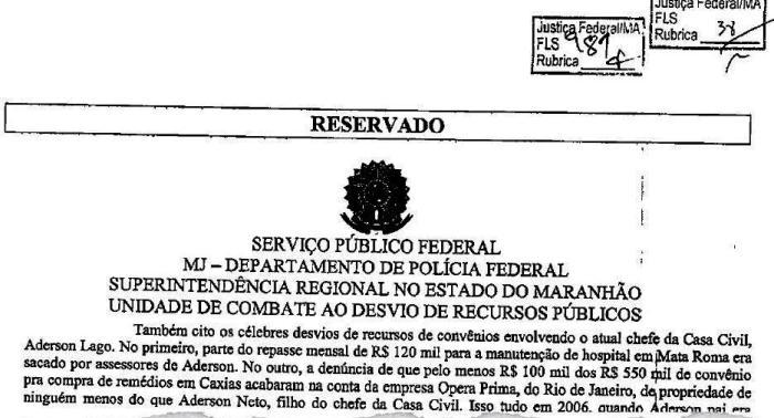 Documento relata ações de Aderson sobre o dinheiro público