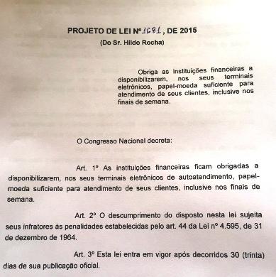 o projeto de Hildo Rocha: obrigações aos bancos