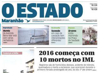 Manchete de O EstadoMaranhão: realidade no IML é outra