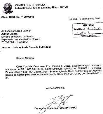 Ofício de Juscelino ao ministro da Saúde, cobrando R$ 1 milhão para a saúde de Stª Inês