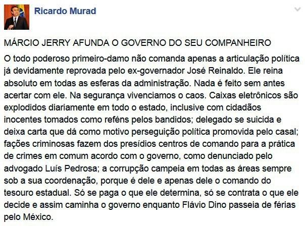 Comentário no face de Ricardo Murad