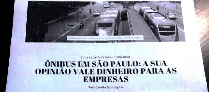 Manchete de jornal paulista tratando do mesmo tema