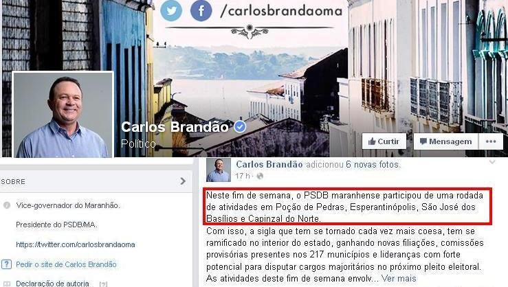 O post de Brandão no domingo: para ele, parece não existir crie política