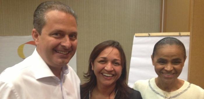 Eliziane Gama com Eduardo Campos e Marina Silva: acordo desde 2014