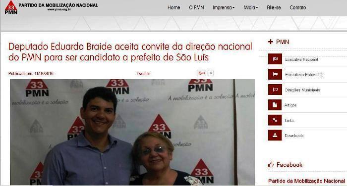 Matéria na página do PMN destaca convite a Braide, que foi aceito pelo deputado