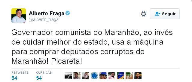 O ataque do deptuado Alberto Fraga a Flávio Dino, que desencadeou o ataque ao Maranhão