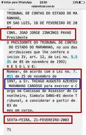 Recorte do Diário Oicial com a nomeação de Maranhão filho, em 2003