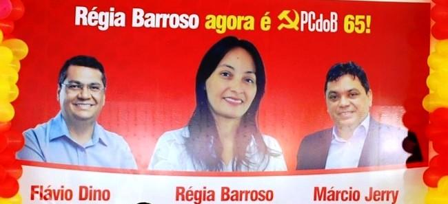 O painel que apresenta Régia barroso; Márcio Jerry faz questão de aparecer, ao lado de Flávio Dino