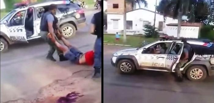 ...E que teve auxílio dos próprios policiais para jogar a vítima na viatura