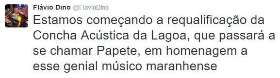 A declaração de Dino no Twitter; ninguém falou por ele