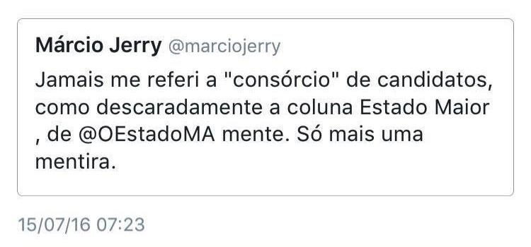 Márcio Jerry no Twitter: como ninguém deu bola, ele recuou da tutela