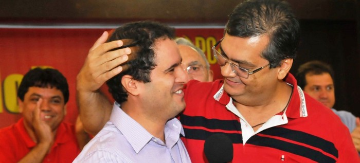 Flávio Dino em carinhos com Edivaldo, observados por Jerry: nos bastidores a relação não parece a mesma