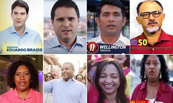 Os oito candidatos que participaram do programa; só Zeluis Lago não mandou mídia