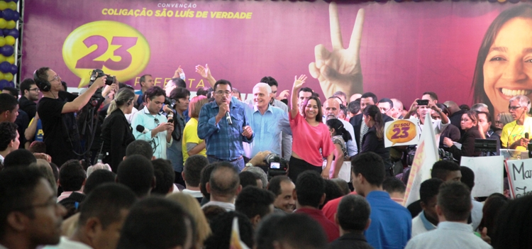 Eliziane Gama entre seu atual vice, José Joaquim, e o ex, deputado Cabo Campos, que a apoia, mesmo sendo do DEM