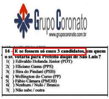 O questionário da Coronato: três ou cinco candidatos?