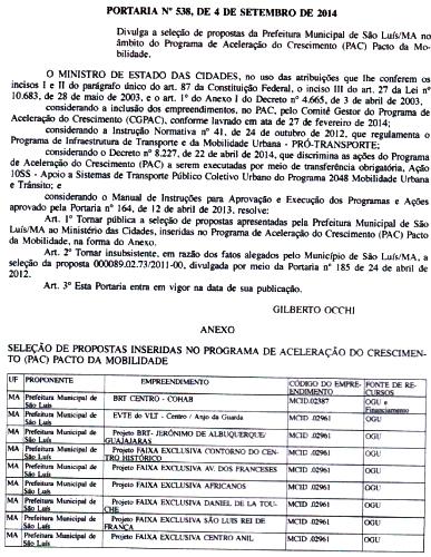 Portaria do Ministério das Cidades comunica seleção dos projetos