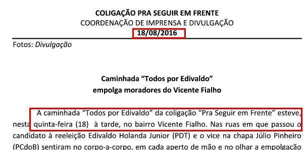 Agenda comprova: campanha de Edivaldo ocorre em meio ao seu expediente como prefeito