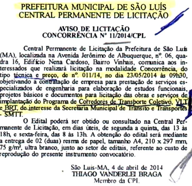 Licitação da prefeitura para contratação de estudo técnico: fracasso