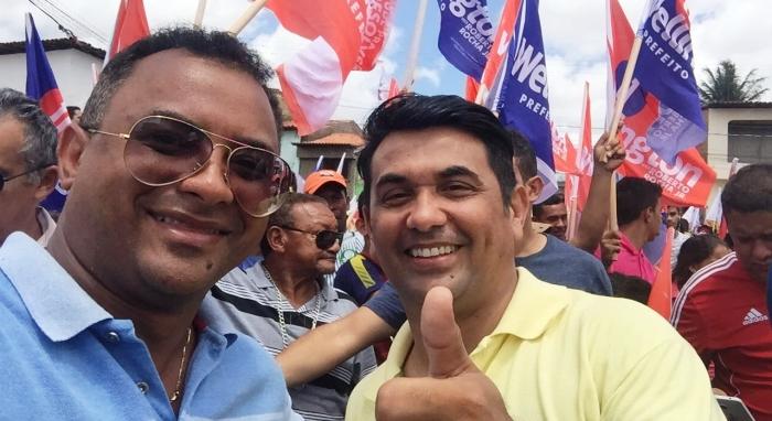 Aldo Rogério ao lado de Wellington: força popular
