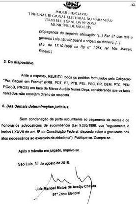 Decisão do juiz Manoel Chaves: improcedente