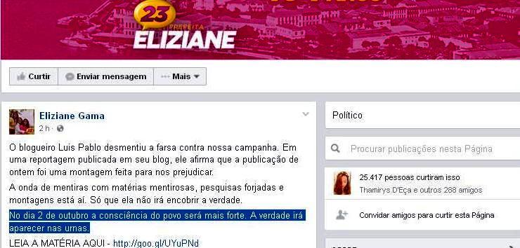 O desabafo de Eliziane no Facebook: ataques e mentiras sistemáticas