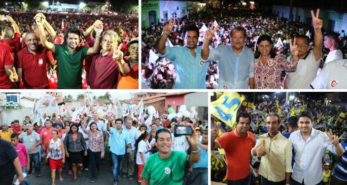 Quatro momentos da reta final da campanha, com Edilázio em vários municípios