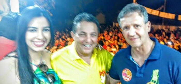: Aluisio Mendes com o prefeito Tema Cunha e a primeira-dama Daniele Cunha